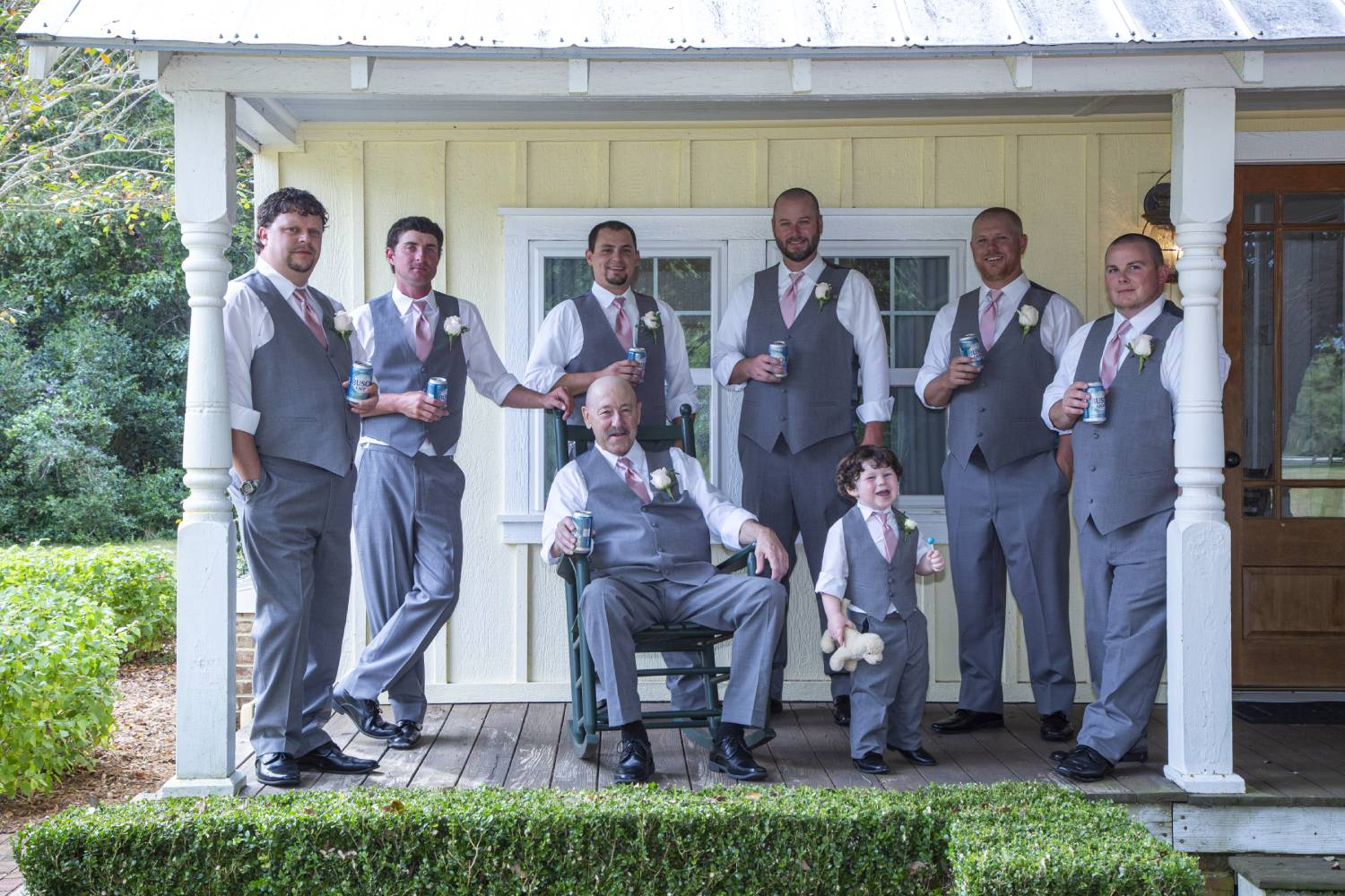 Groomsmen in front of the Tree House
